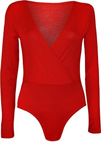 New Ladies Wrap Over Front  Bodysuit Plunge V Neck Women Leotard Tops