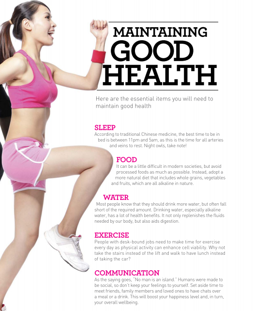 Maintain Good Health By Having Enough Sleep Exercising Regularly Meeting Friends Eating The