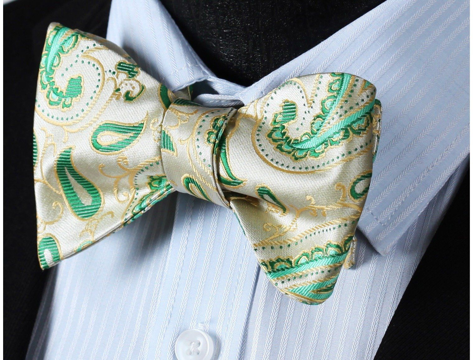 f9b3768e1724 SetSense Men's Paisley Jacquard Woven Self Bow Tie One Size Beige / Green