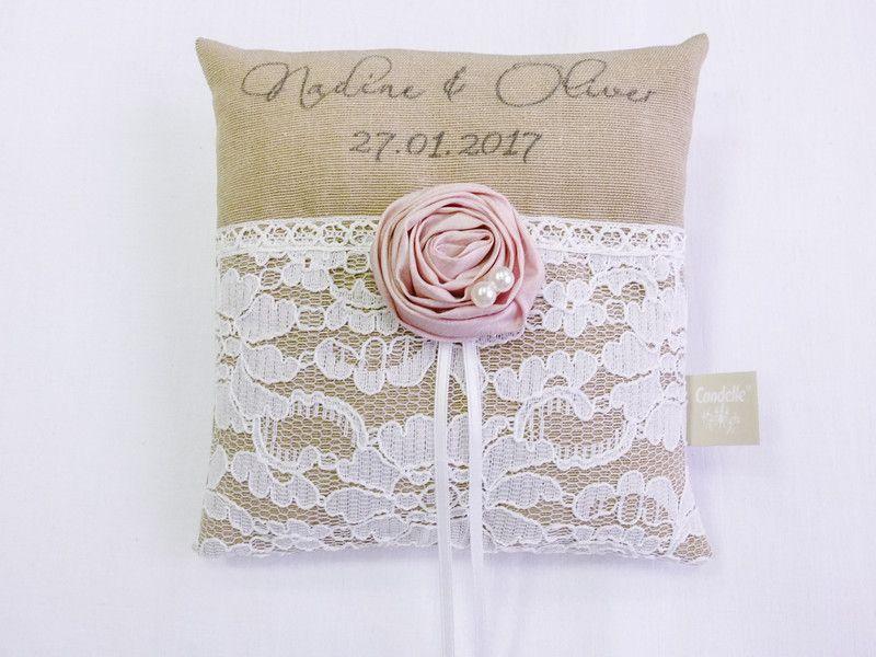 Kissen Hochzeit Herz Schmetterlinge mit Name und Datum