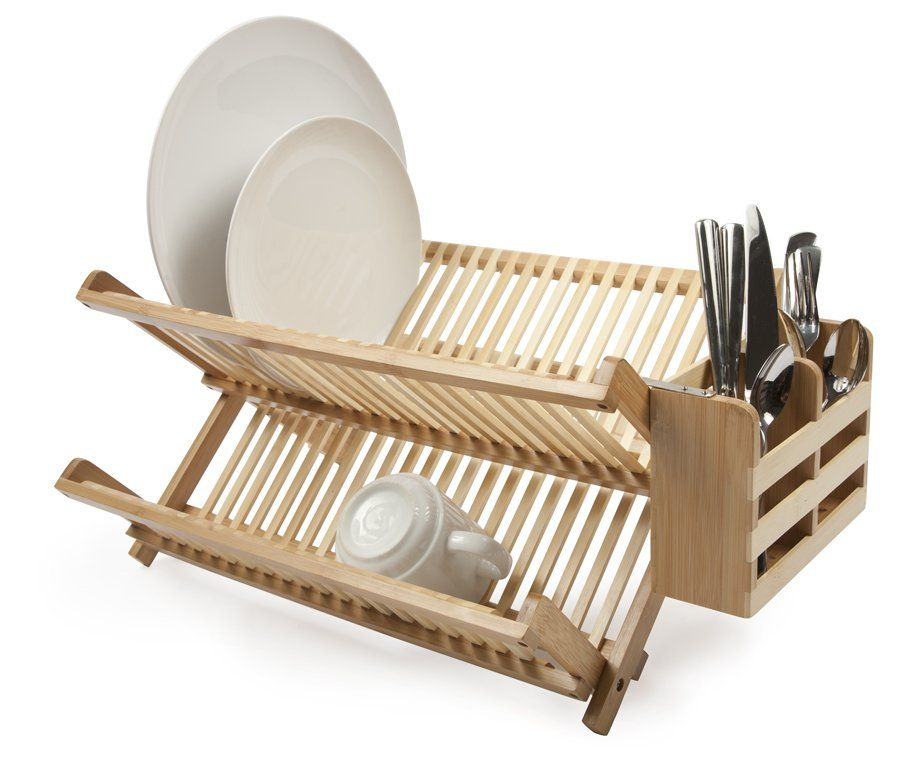 Wood Collapsible 2 Tier Dish Rack With Images Bamboo Dishes