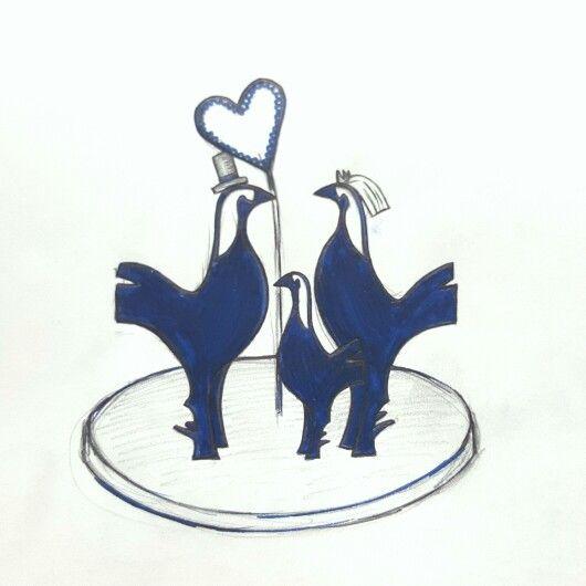 Tottenham Hotspur Cockerel Wedding Cake Topper! Bride, groom and baby