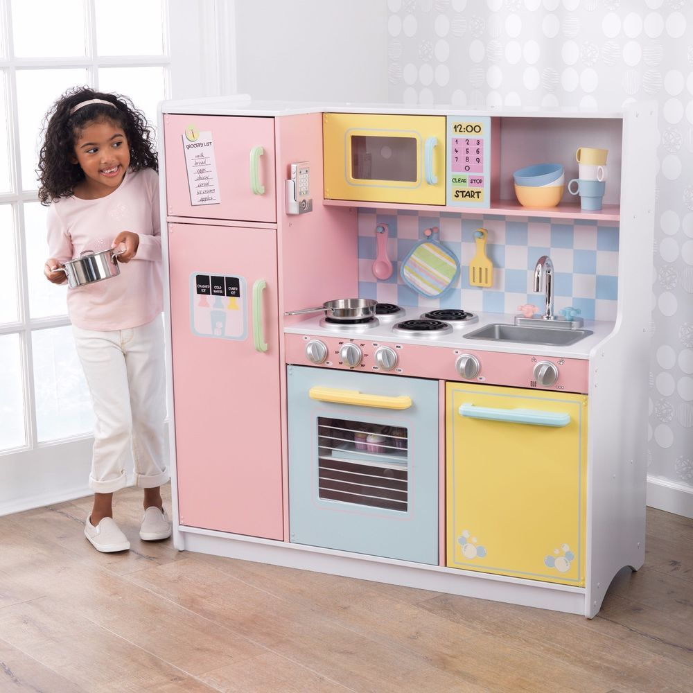 Large Kitchen Play Set Pink Pastel Colors Freezer Oven Refrigerator All In One Kidkraft Pastel Kitchen Play Kitchen Kids Play Kitchen