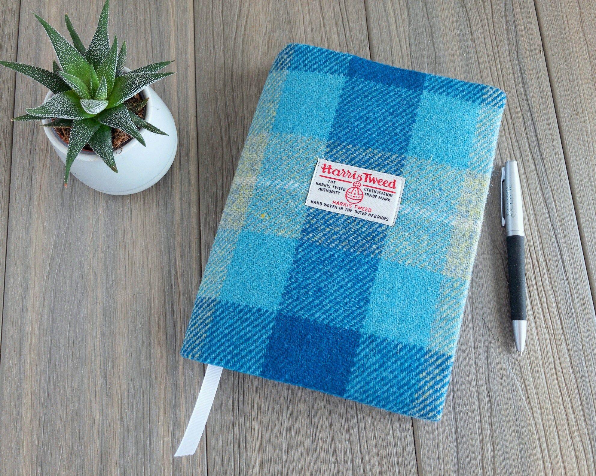Harris Tweed A5 reusable notebook cover, Harris Tweed journal