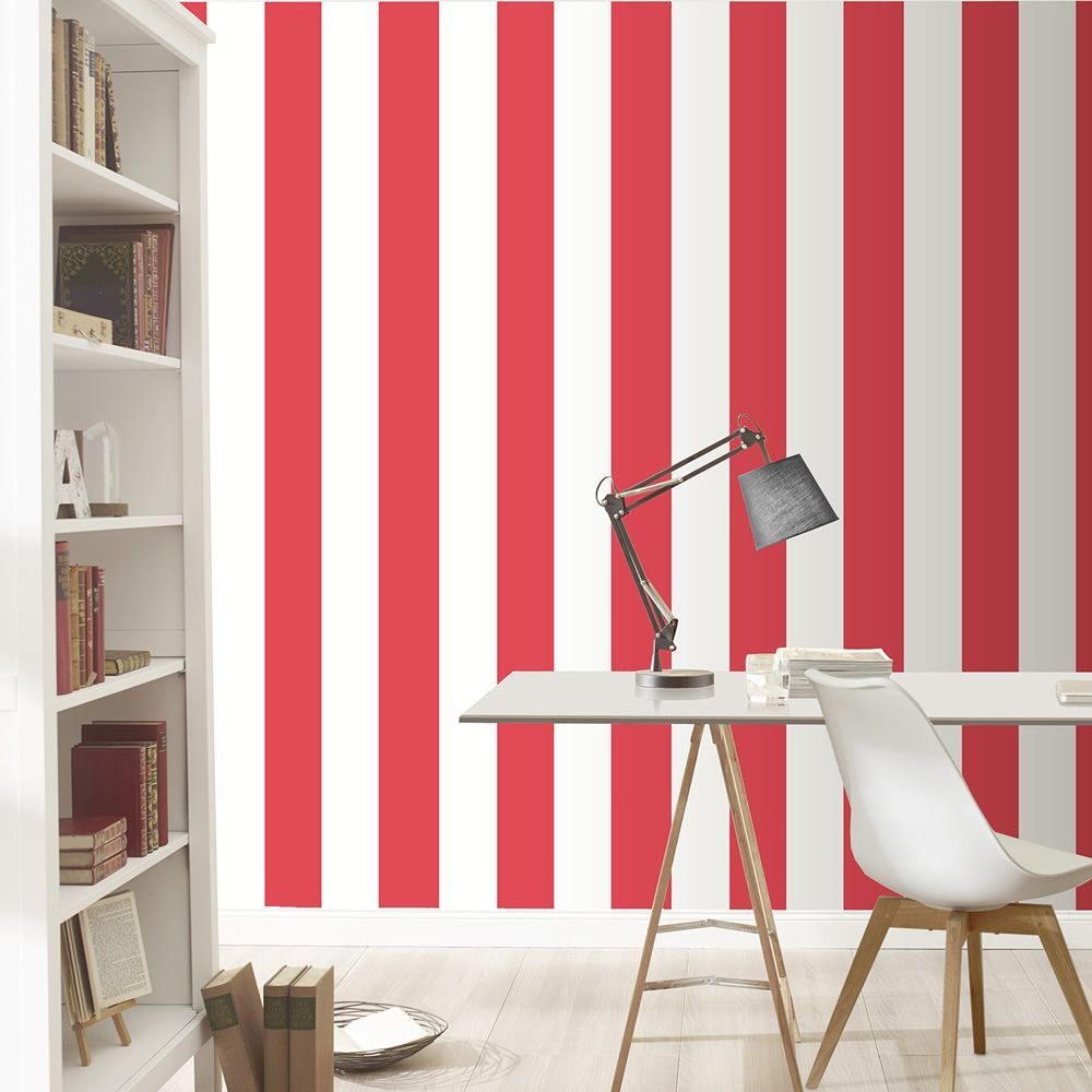 Stripe Wallpaper Red And White Rasch 286915 This Striking Stripe Wallpaper Features A Wide St Striped Wallpaper Red Wallpaper Pink And White Striped Wallpaper