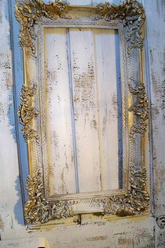 Large Vintage Frame Hand Painted Ornate French Farmhouse Pewter Antique Gold Aged Wall Decor Vintage Frames Old Picture Frames Ornate Frame