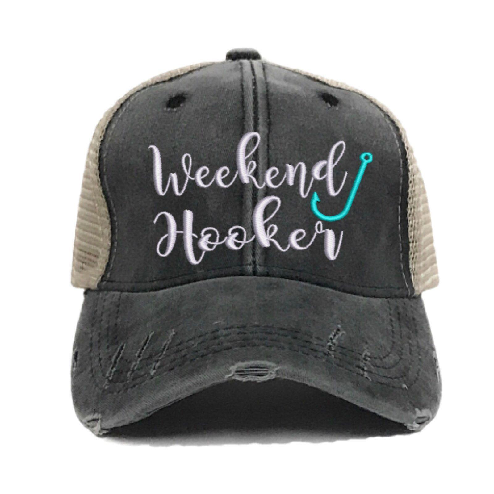 a7b7491dc Custom Hat - Weekend Hooker Fishing Trucker Hat - Script - Womens ...