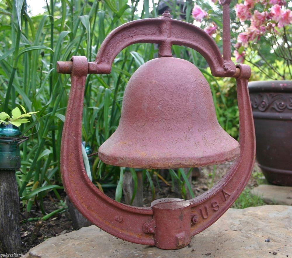 Details about Antique Cast Iron Dinner Bell Yoke & Clapper ...