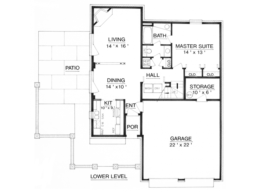 Traditional brick - 3 bedroom, 2 bath - 1,452 sq  ft  - 36' x 48' +