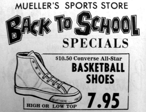 1404368453dd Basketball Shoes! Good ol  Converse High Tops. Vintage ad from 1960s  Missourian  newspaper.