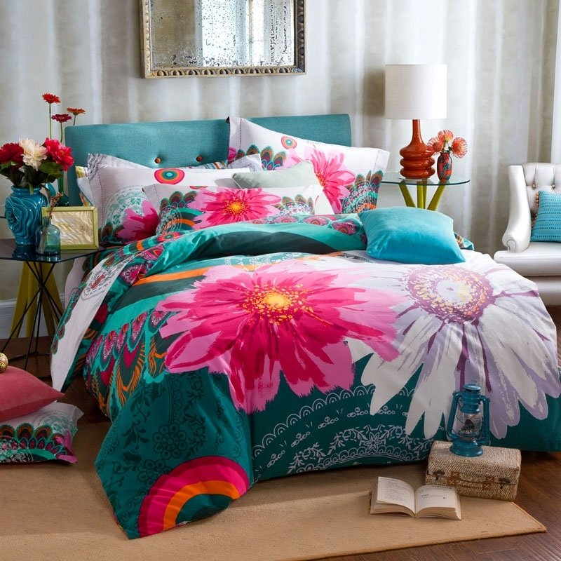 Teal Hot Pink And White Watercolor Flower Full Queen Size