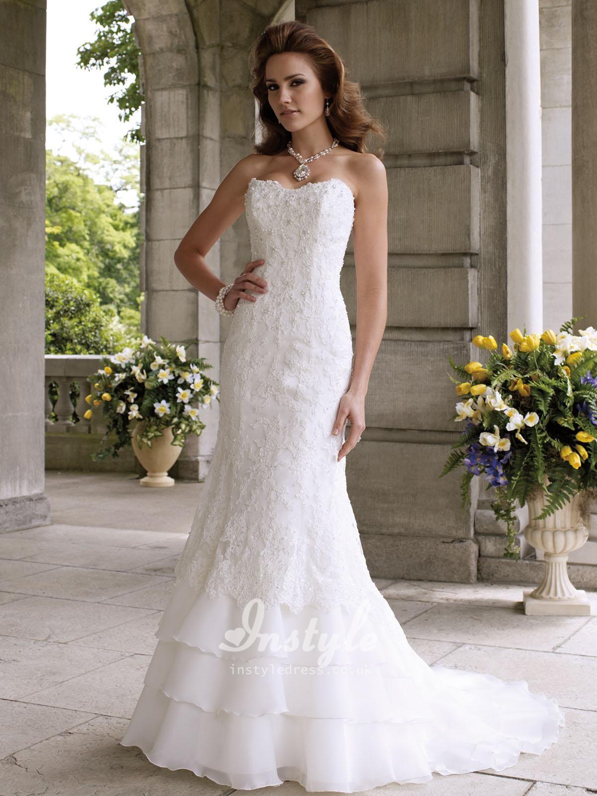 Vintage Strapless Slim Aline Beaded Lace Wedding Dress UK