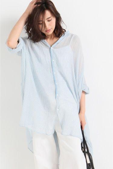 LAURENCE BRAS ストライプシャツ  LAURENCE BRAS ストライプシャツ 33480 2016SS LAURENCE BRAS フランスブランド シンプルで上品 そしてカラーや質感にこだわったとても素敵なブランドです インド製品の特性上色ムラ織ムラスラブなどの独特な風合いをお楽しみください色の濃いものは色落ちする場合があります モデルサイズ:身長:166cm バスト:80cm ウェスト:58cm ヒップ:82cm 着用サイズ:フリー
