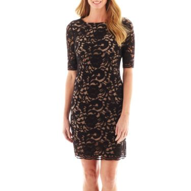 ca52195f2 Beige and black dress. R K Originals® Elbow Sleeve Lace Dress with Nude  Lining - JCPenney - size 4