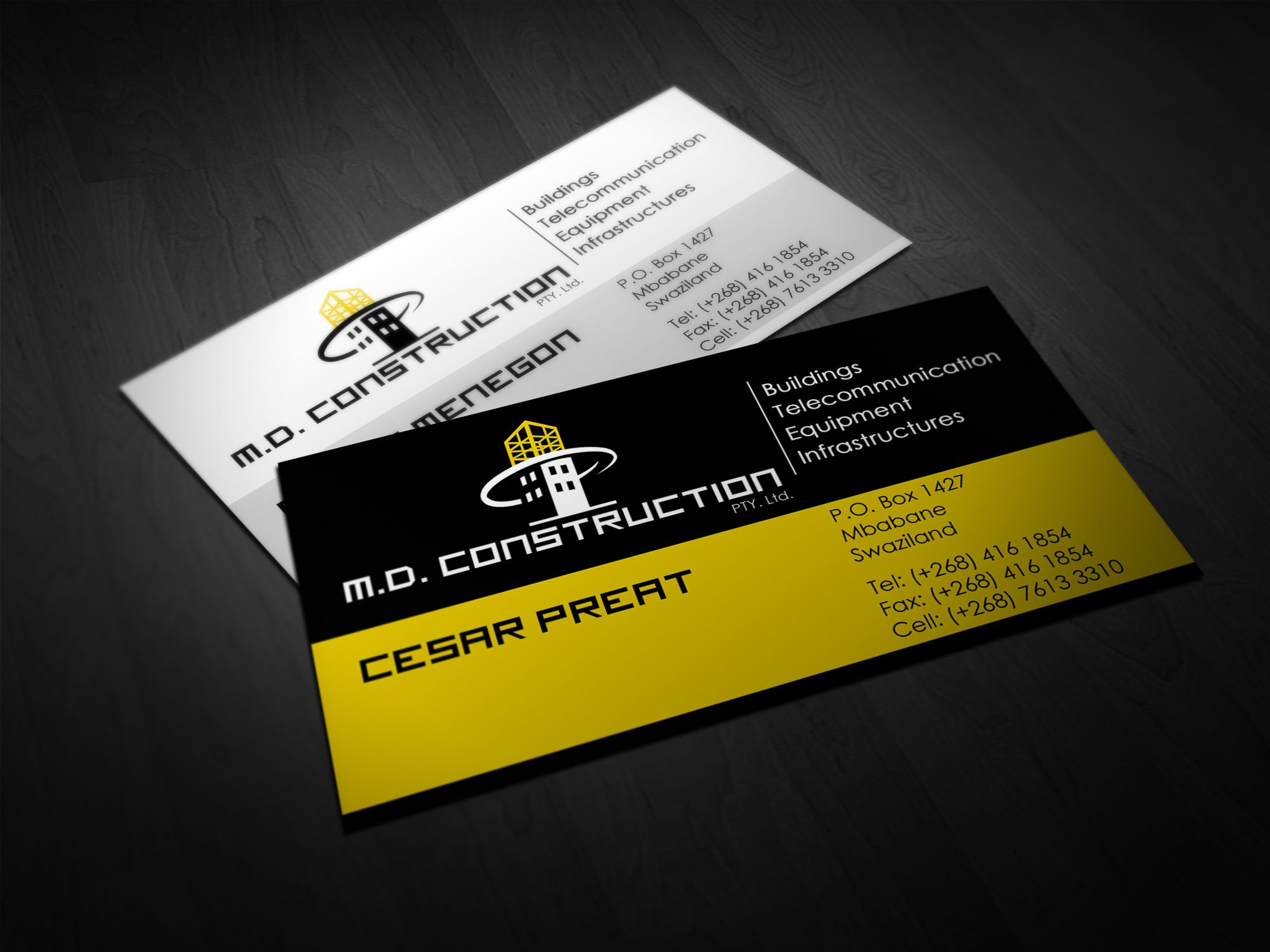 MD Construction Business Card Business Card Designs