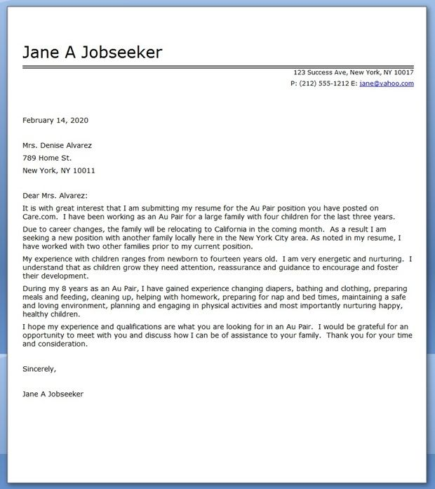au pair cover letter sample