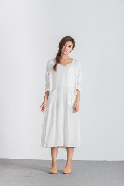 15ac608a2cf57 Oversize Linen Cotton Casual loose maxi white plus size Custom made dress  A12. Oversize loose linen cotton maxi dress Women s large size shirt ...