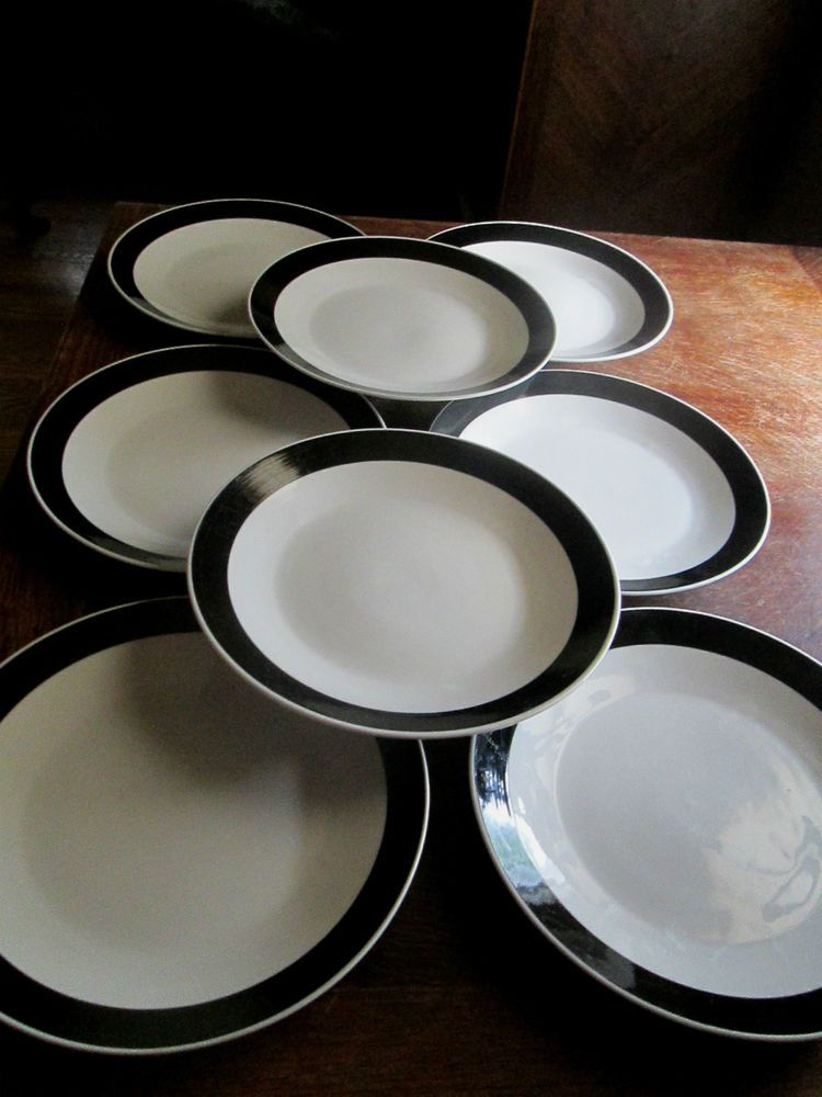 08 COLLEGE STONEWARE DINNER PLATES Set of 8 - White with Black Rims - NICE! & 08 COLLEGE STONEWARE DINNER PLATES Set of 8 - White with Black Rims ...