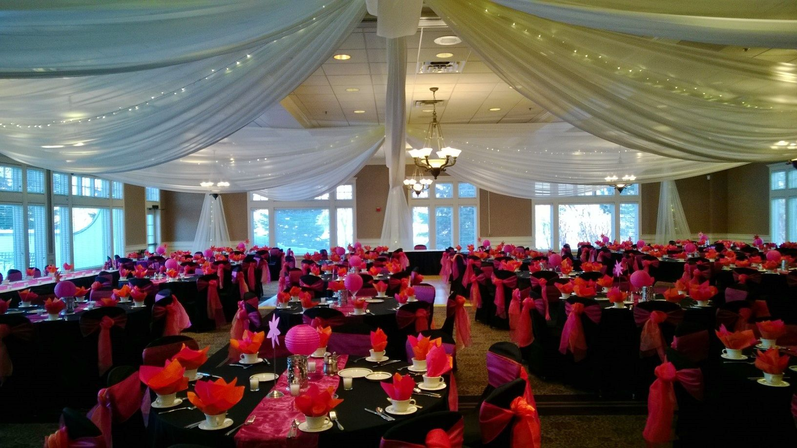 Black Table Linens With Hot Pink Organza Runners, Black Chair Covers With Hot  Pink U0026