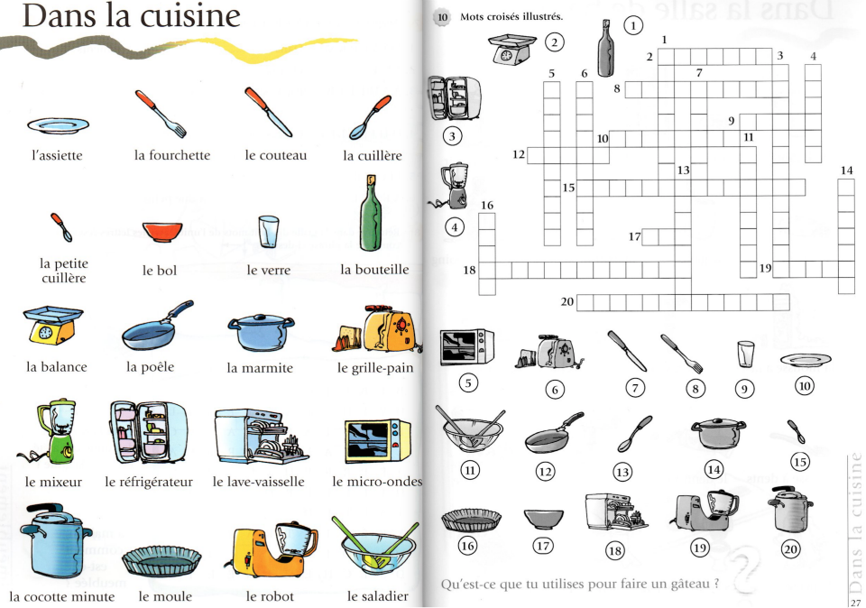 Mots Croises De La Cuisine A1 Le Francais Avec Des Jeux S Tibert Vocabulaire Cuisine Mots Fleches Enfants Vocabulaire