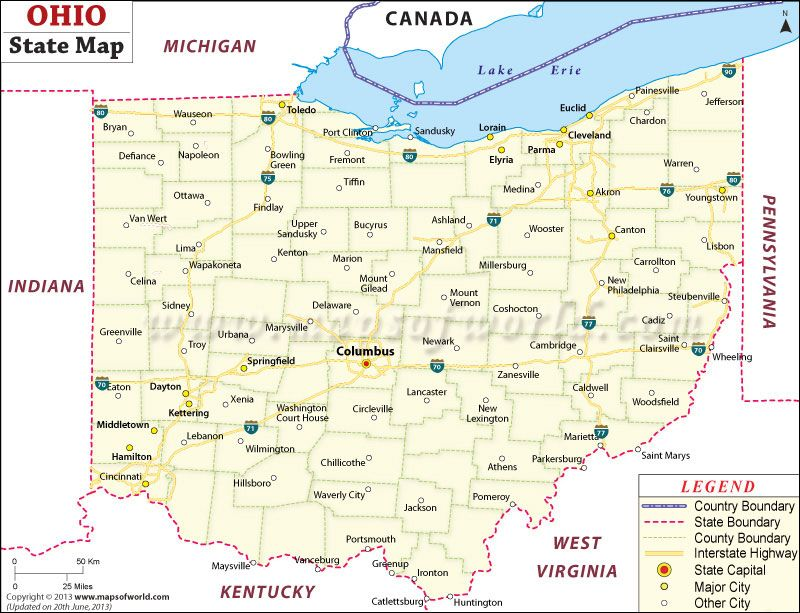 State Map Of Ohio  Visit All 50 States Checklist