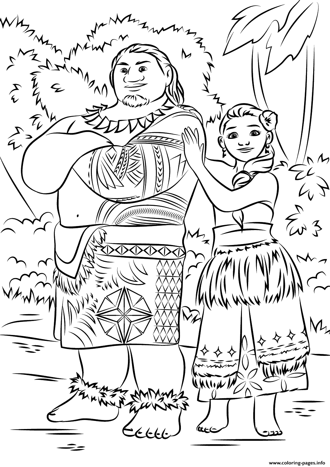 Print Tui And Sina From Moana Disney Coloring Pages Disney