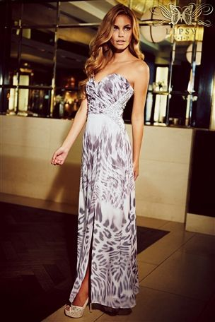 Printed bandeau maxi dress next