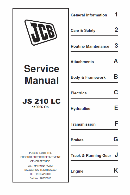 JCB JS210 LC Tracked Excavator Service Manual (con
