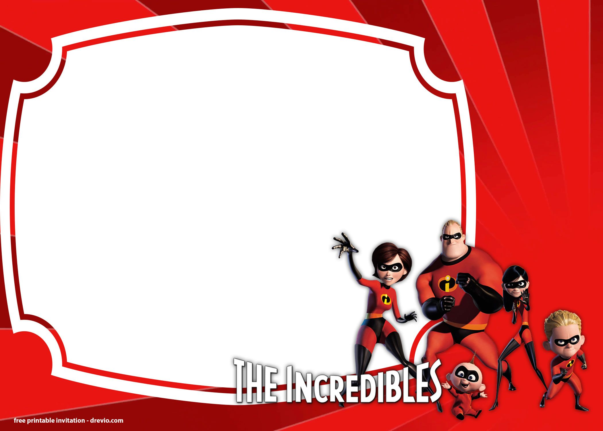 Awesome FREE The Incredibles 2 Birthday Invitations Templates