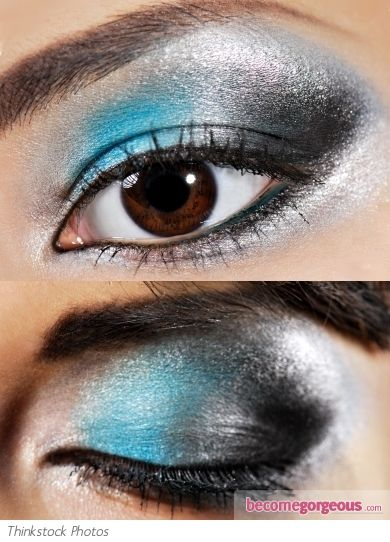 Bring a metallic silver eye to a whole new level by adding a vibrant turquoise to the look. Use the foiling technique ( wet eyeshadows/pigments with a mixing medium) for a more vibrant color payoff.