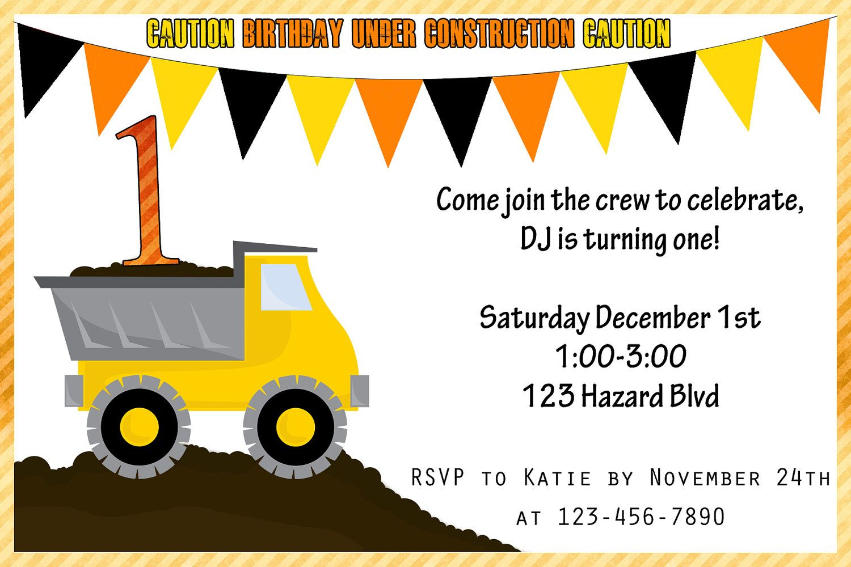 Tonka/Construction Birthday Invitation - Printable - 4x6. $10.00 ...