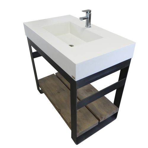Sample For Pool House. Concrete Sink With Steel Base And Wood Shelves  Concrete Shown In