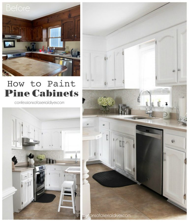 Pine Kitchen Before And After How To Paint Pine Cabinets Diyandhomeimprovementbathroommakeovers Diyand In 2020 Pine Cabinets Pine Kitchen Pine Kitchen Cabinets