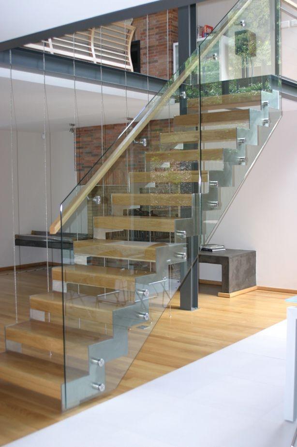 Best Solid Oak Treads Steel Stringer And Glass Balustrade 400 x 300