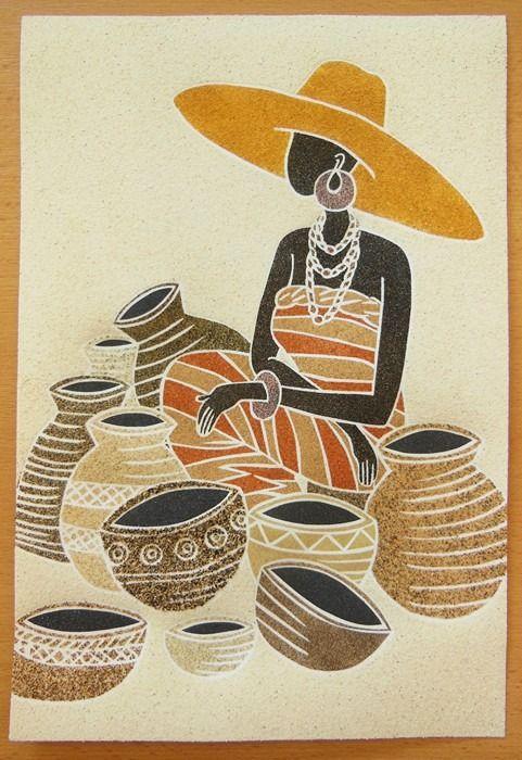 tableau de sable la vendeuse au chapeau jaune d corations murales par celined tableaux de. Black Bedroom Furniture Sets. Home Design Ideas
