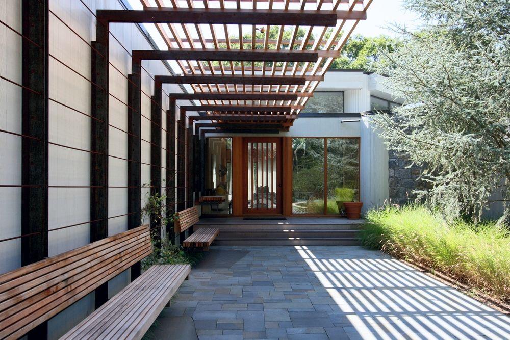 East hampton residence ole sondresen architect details pinterest east hampton - Pergola metal adossee ...