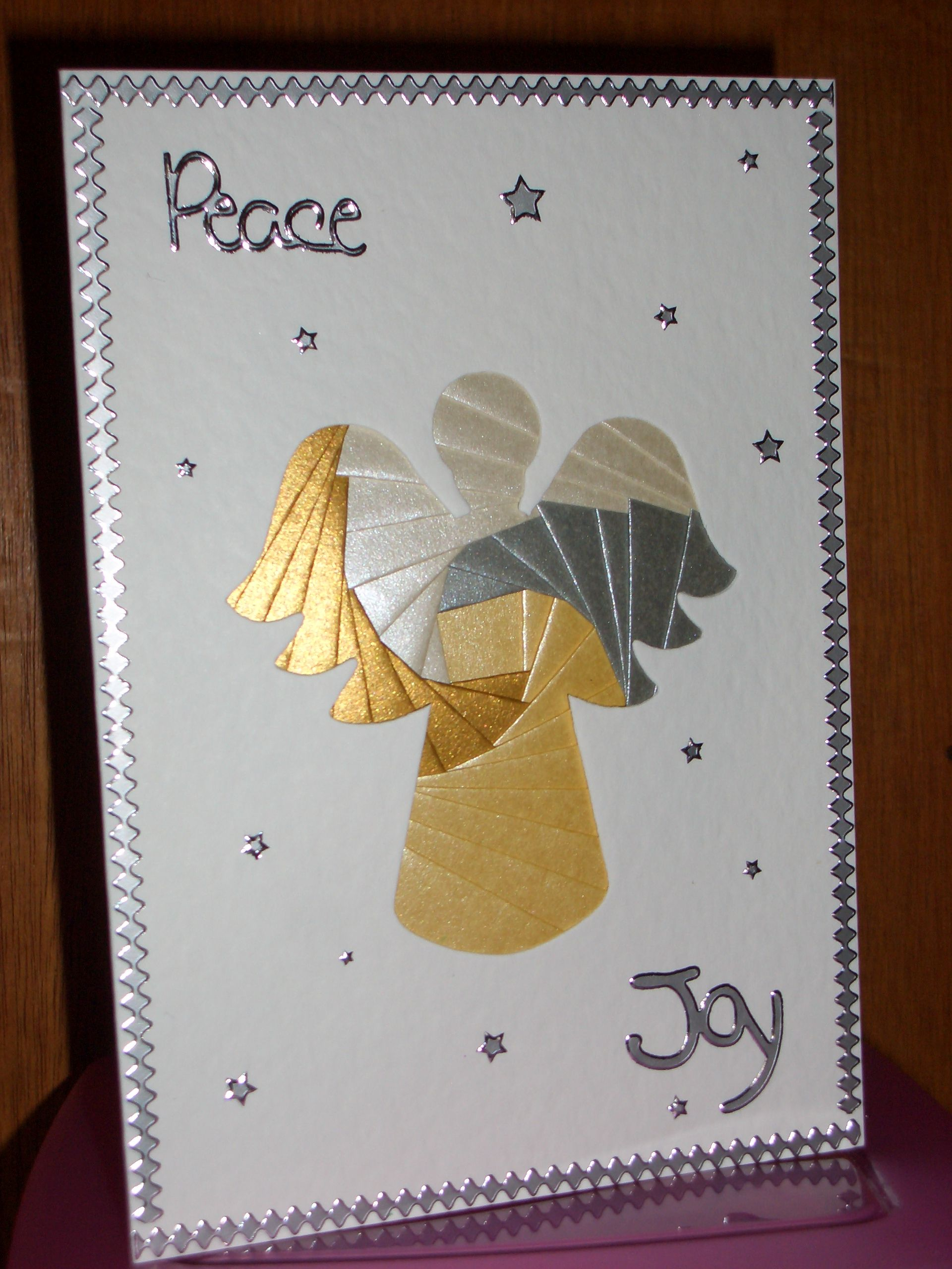 Angel Iris Fold Card - card blank & paper from Dee Craft, peel-offs from my own stash.