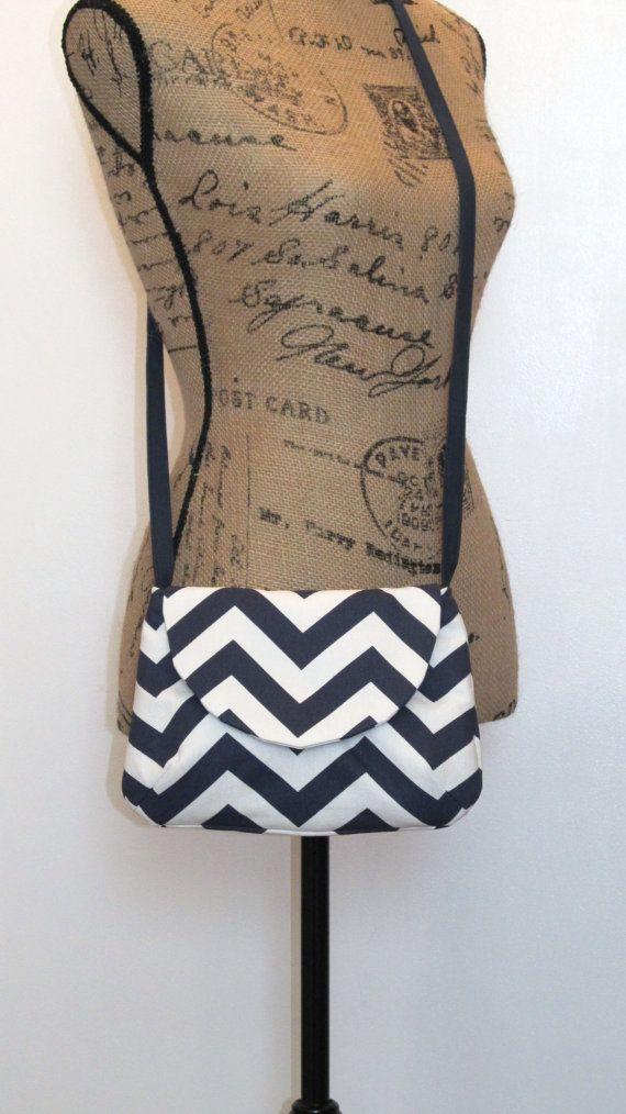 Crossbody Bag  / Shoulder Bag / Navy Blue Chevron by bettyscorner, $28.00