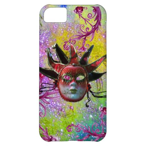 BLACK RED JESTER MASK Masquerade Purple Green iPhone 5C Case
