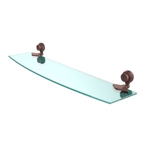 Venus Collection 24 Inch Glass Shelf with Twist Accents, Antique Copper - (In No Image Available)