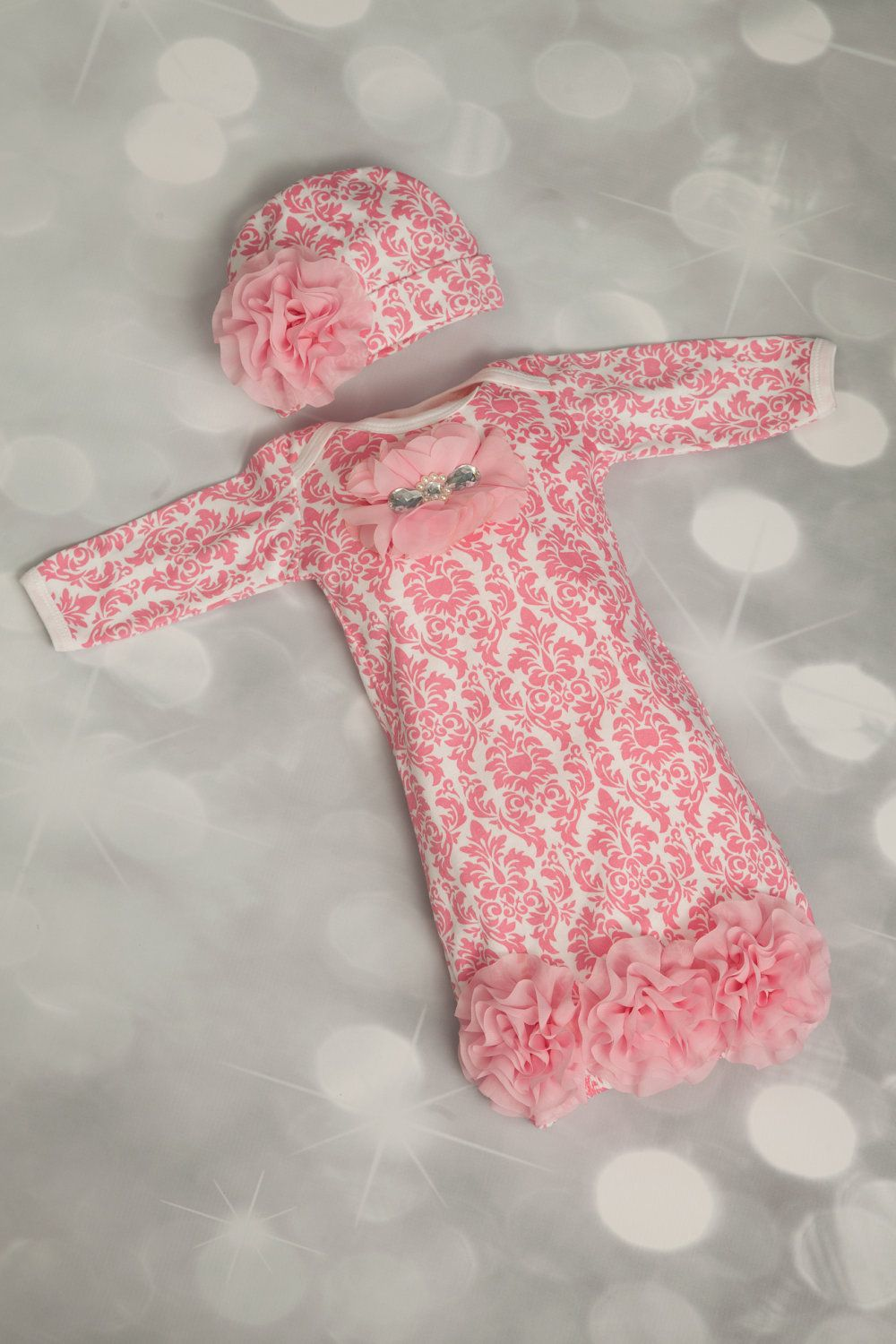Infant Pink Damask Layette Cotton Baby Gown with Pink Chiffon ...