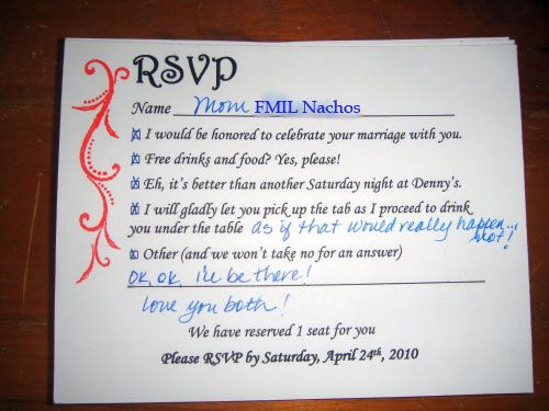 Funny rsvp replies