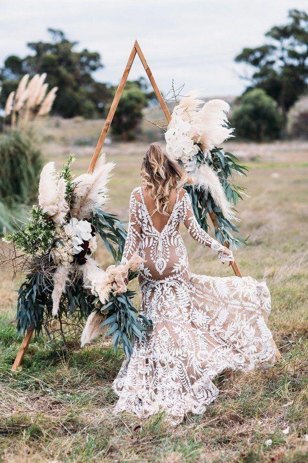 Boho Sage Green Wedding Arch with Pampas Grass Details
