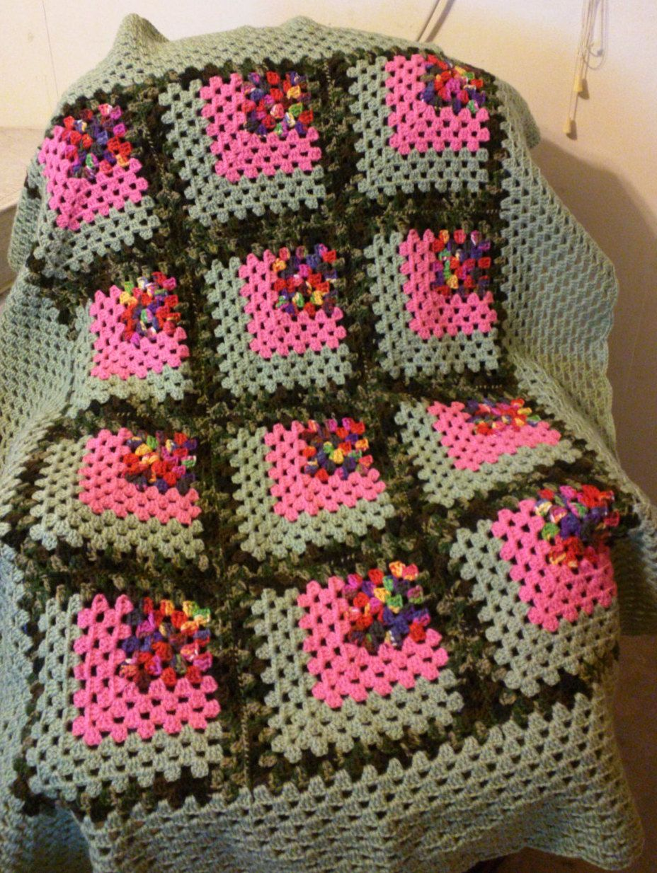 granny 65  Afghan, throw, lap blanket Green and Pink Mitered Granny, retro, boho,  bohemian, hippie, 55 x 65