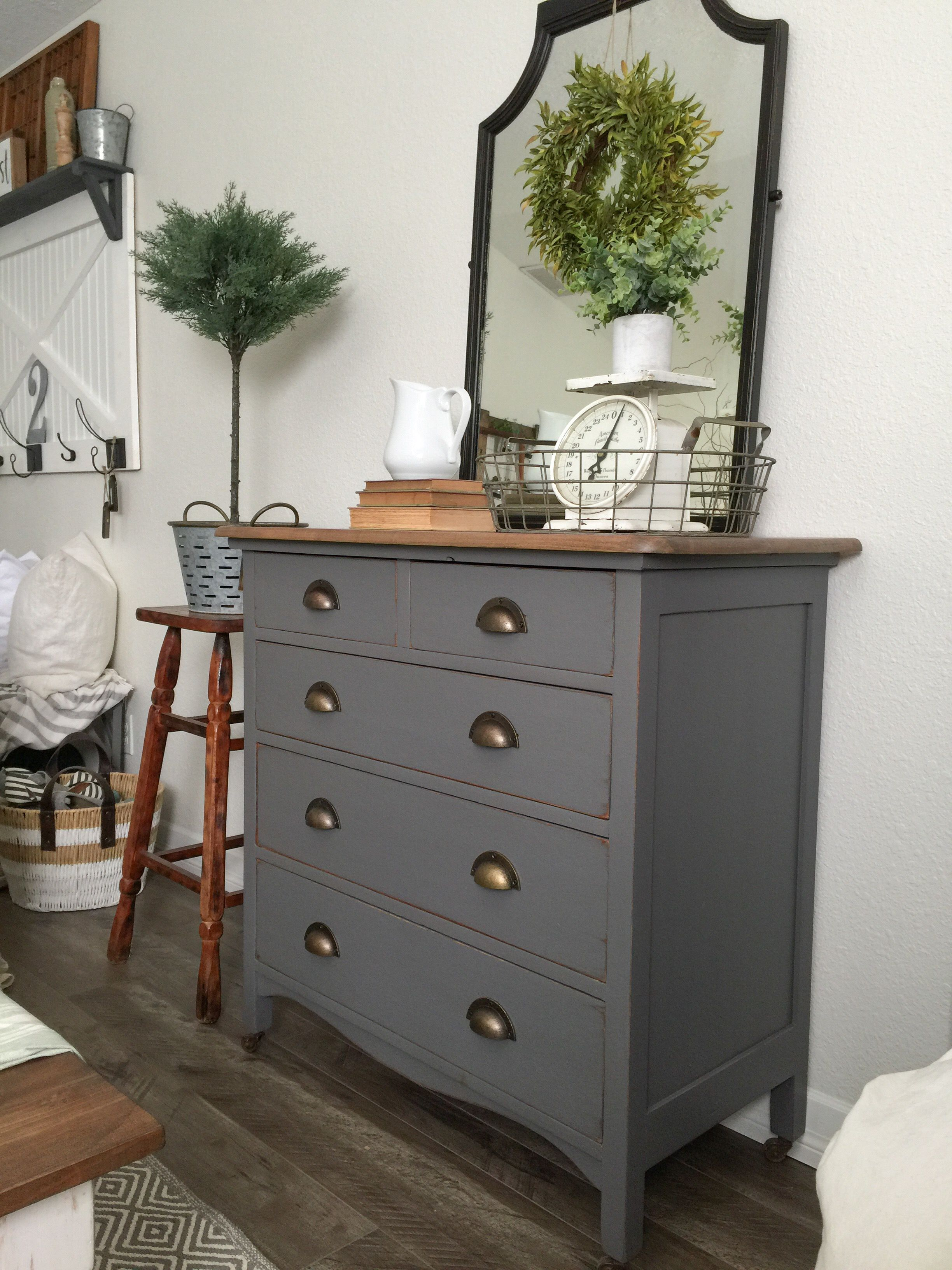 charcoal gray dresser with a sweet little note general