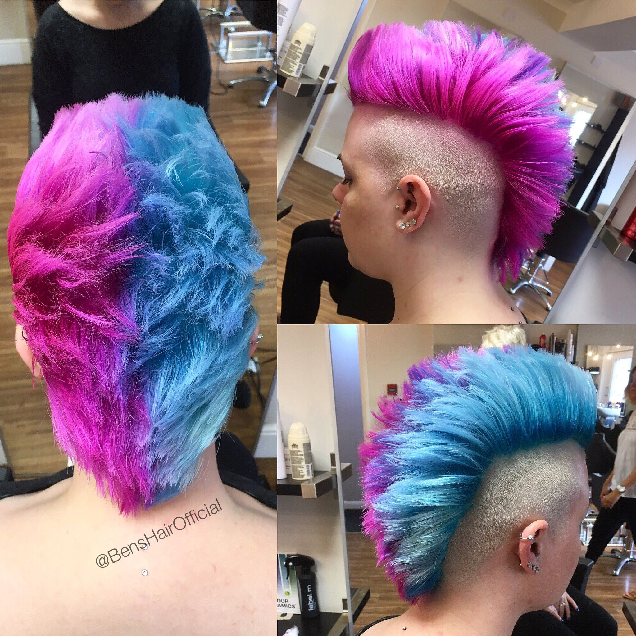 bright pink and blue mohawk. short
