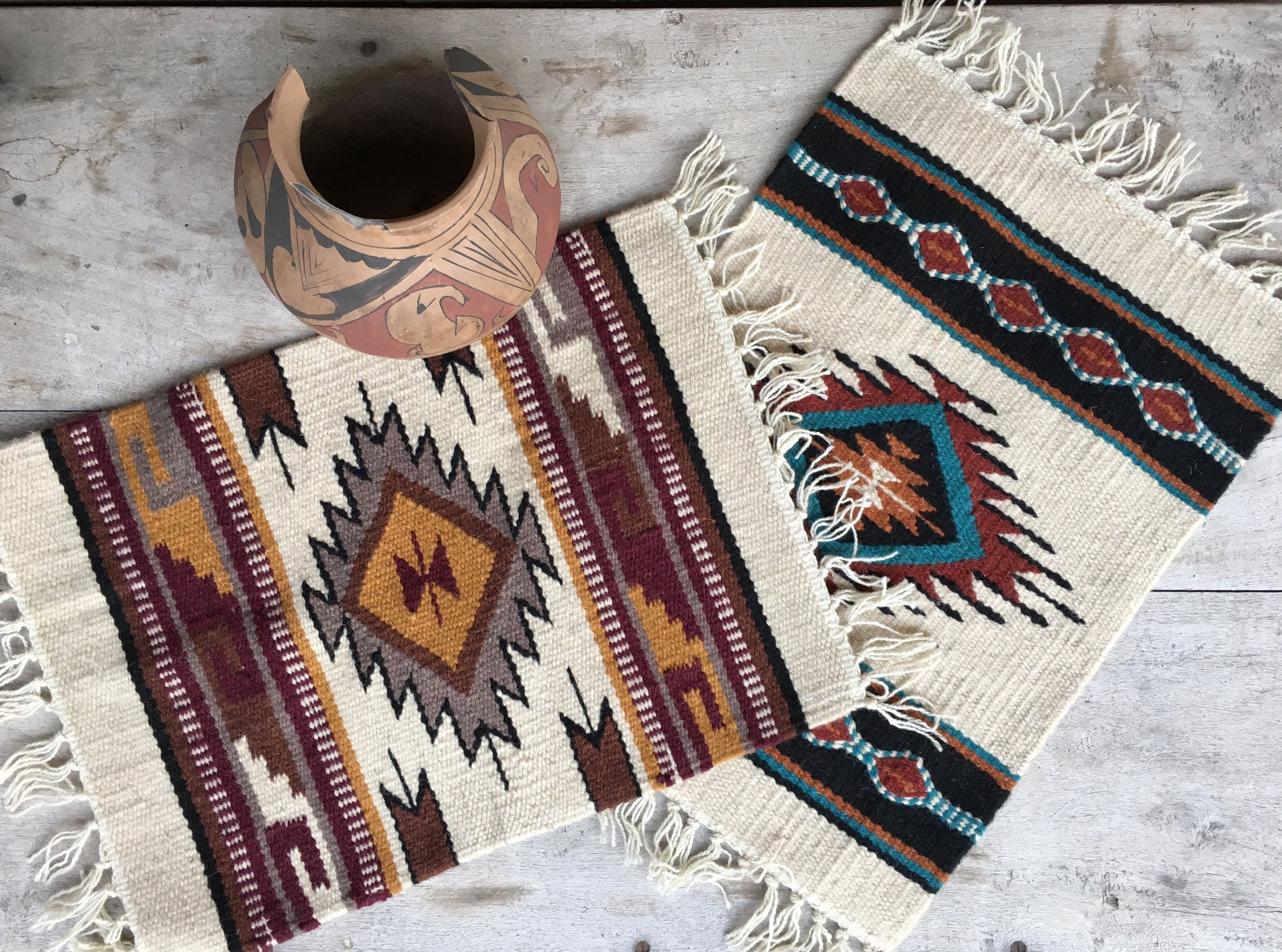 Pair Of Handwoven Wool Placemats Or Tables Mat Southwestern