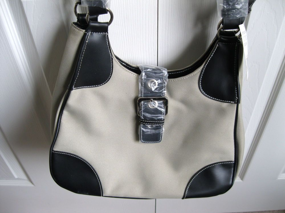 Large Beige and Black #Handbag #FauxLeather Cross Body or Hand NWT by @snapdragonslair