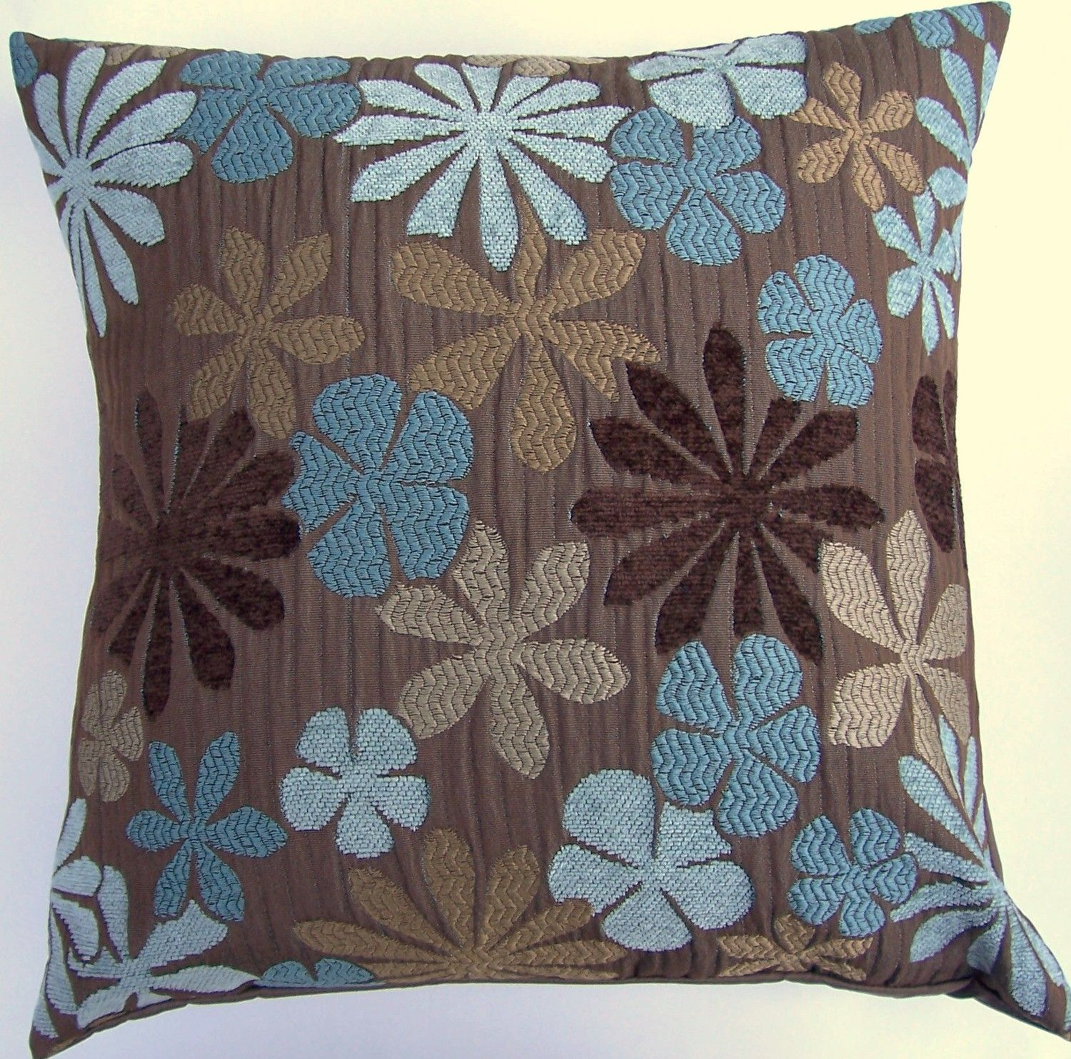Brown Throw Pillow Cover with Turqouise Blue, Aqua & Tan Flowers - 16 x 16. $16.99, via Etsy.