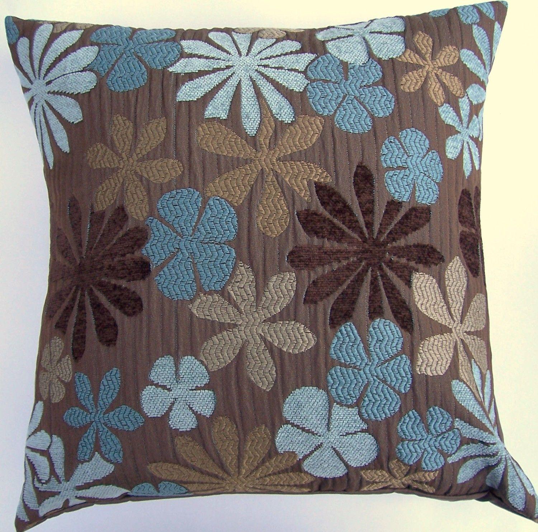 Brown and teal throw pillows - Brown Brown Throw Pillow